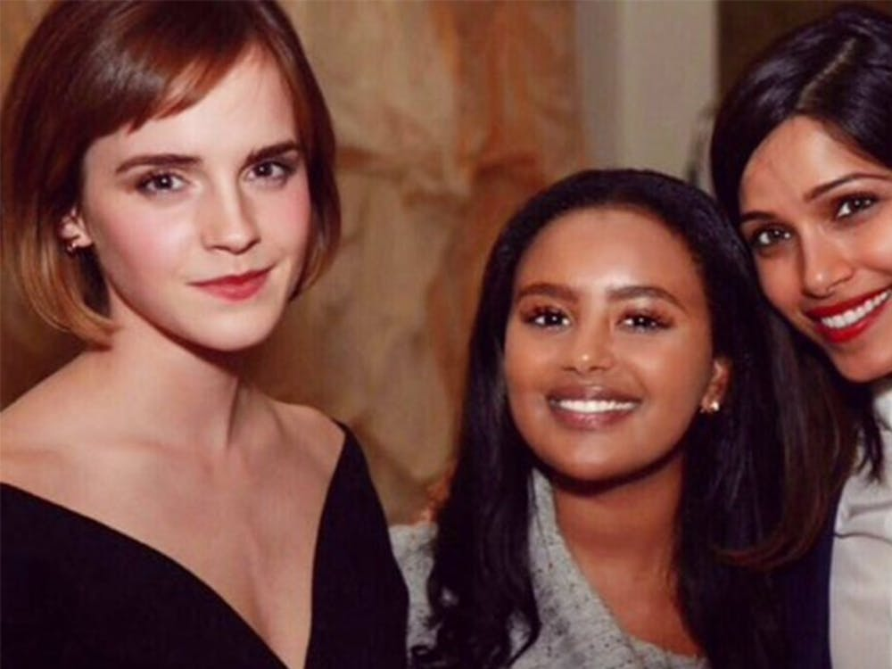 Freshman Hannah Godefa (middle), who founded her own nonprofit, attended the World Economic Forum last week in Switzerland and met actresses Emma Watson and Freida Pinto (also pictured).