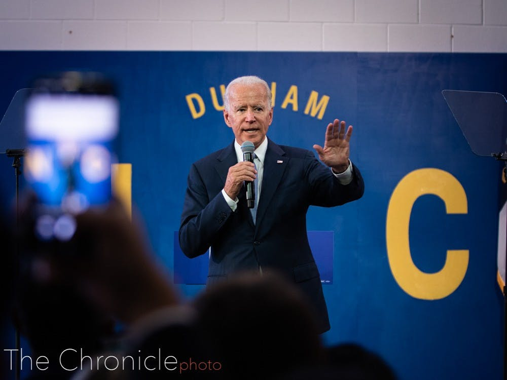 """Democratic presidential candidate Joe Biden spoke at Hillside High School in Durham, North Carolina during the afternoon's """"community event"""" for his campaign rally. Here are sports photography editor Eric Wei's best shots from the rally."""