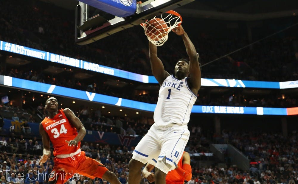 <p>Zion Williamson wasn't hesitant to get up in his first game back from injury, throwing down one of many dunks just two minutes into Thursday's contest.</p>