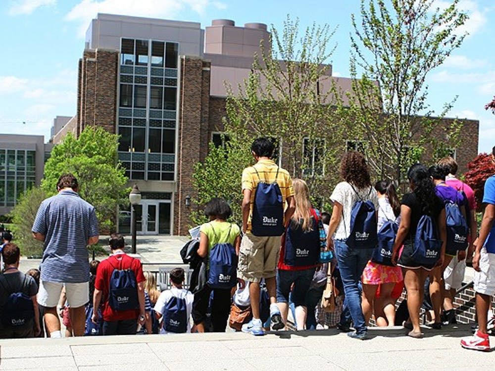 Prospective first-years walk around the Engineering Quad while on a campus tour for an on-campus Blue Devil Days. This year, there won't be a BDD, but there will be online offerings from the admissions office.