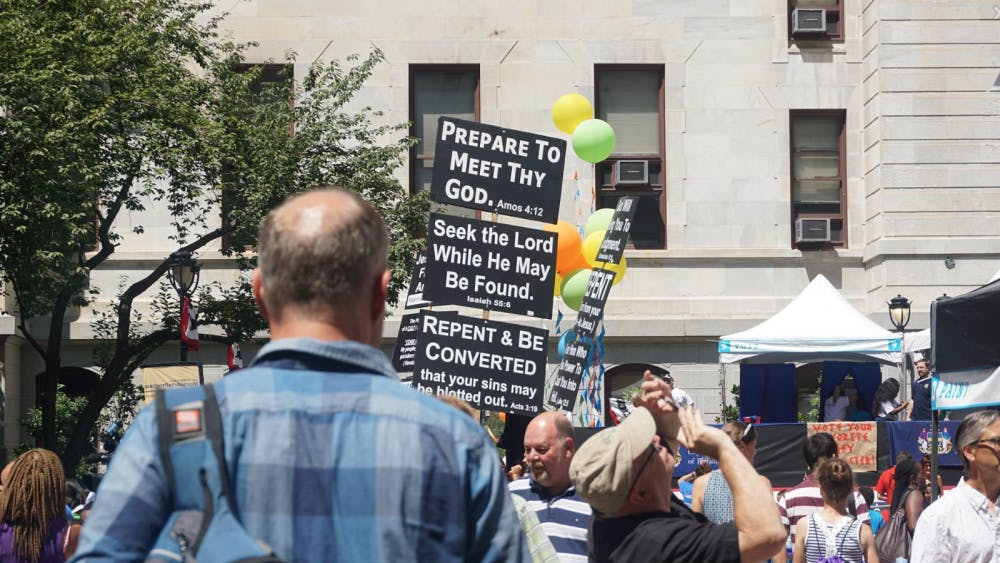 <p>Protestors spoke out against Clinton's involvement in the United States' war on terror Wednesday in Philadelphia.&nbsp;</p>