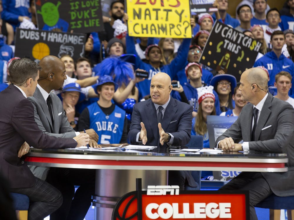 Rece Davis and the rest of the ESPN College GameDay crew could barely be heard over the din of the Cameron Crazies' chants.
