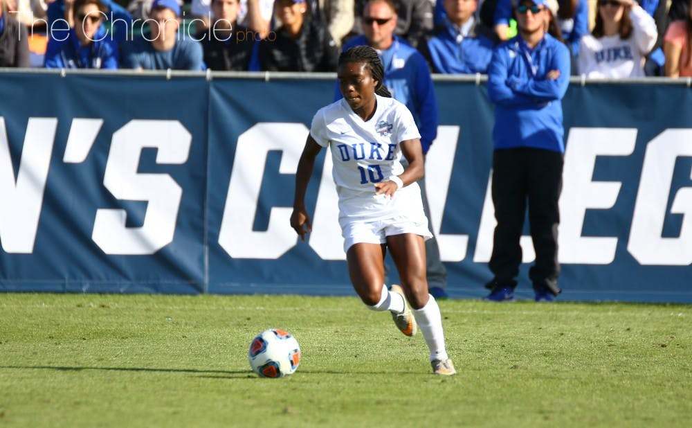 <p>After netting a goal and an assist in Friday's semifinal win, junior forward Toni Payne did not find much room to operate Sunday but was one of four Blue Devils selected to the All-Tournament team.</p>