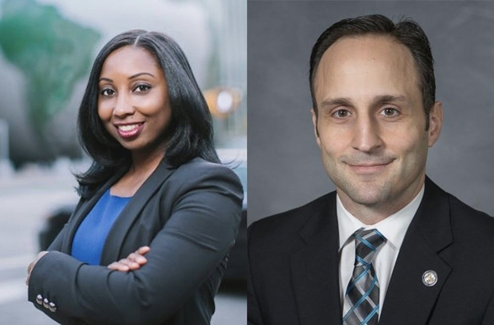 <p>Democrat Jessica Holmes (left) and Republican Josh Dobson (right) are running for N.C. commissioner of labor in the November general election.&nbsp;</p>