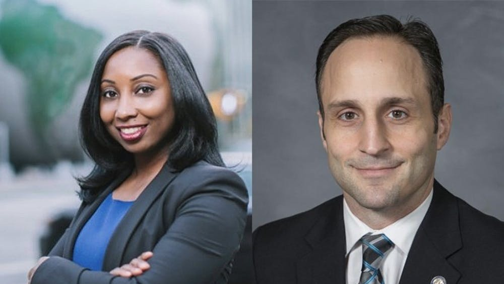 Democrat Jessica Holmes (left) and Republican Josh Dobson (right) are running for N.C. commissioner of labor in the November general election.