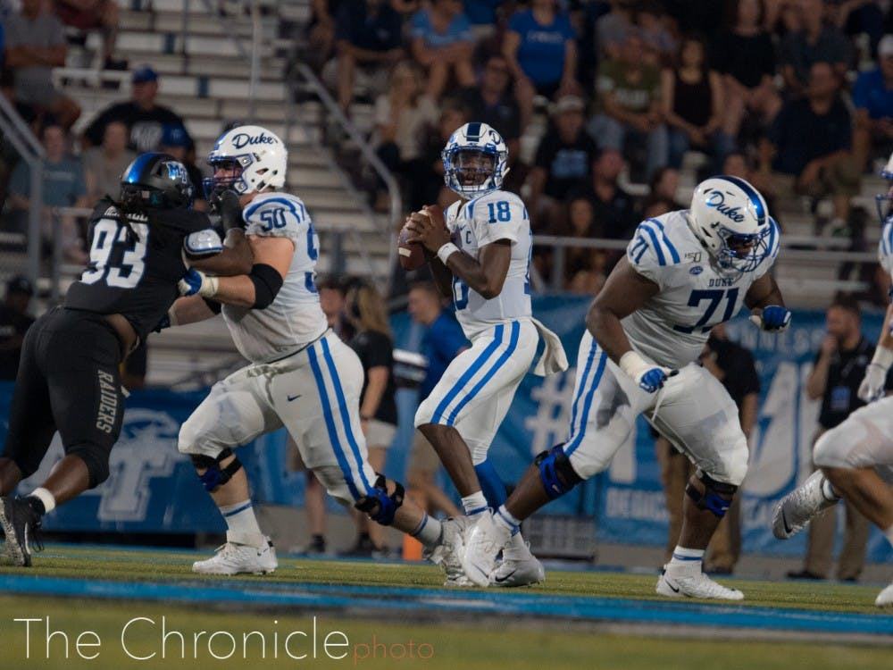 The Blue Devil offensive line will have their hands full trying to keep a formidable Pittsburgh pass rush away from Quentin Harris.
