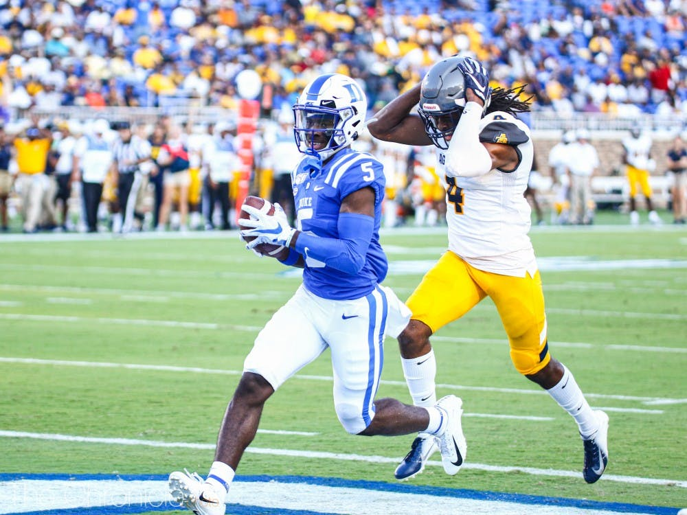 Jalon Calhoun opened scoring for the Blue Devils, connecting with Quentin Harris on a 38-yard score.