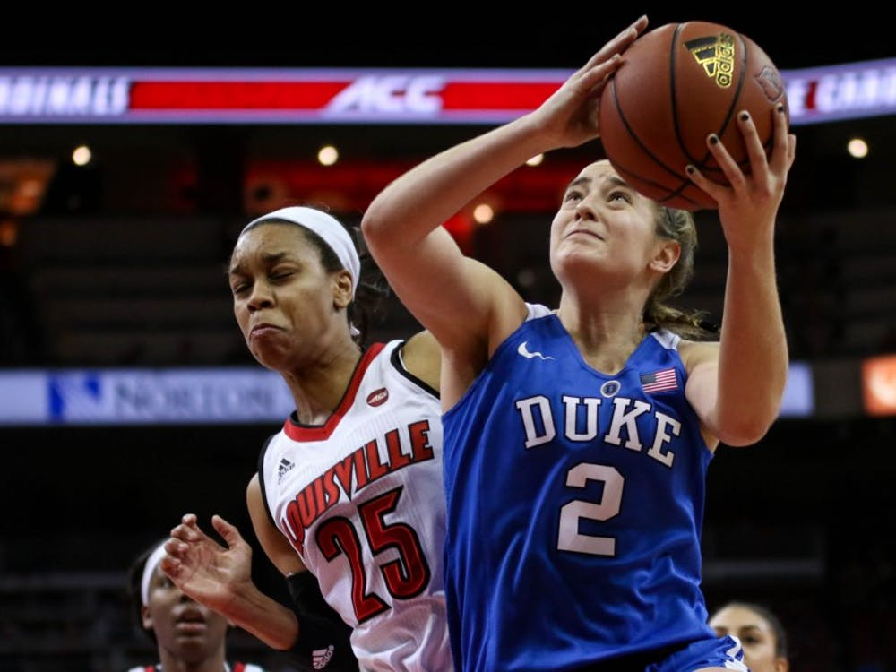 Haley Gorecki's perfect 8-for-8, 19-point first-half performance kept the Blue Devils in the game, but the sophomore cooled after intermission.