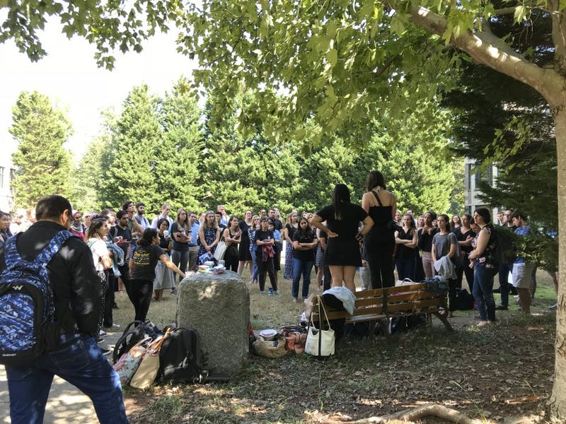 Sanford Women in Policy organized a walkout opposing Brett Kavanaugh's nomination to the Supreme Court.