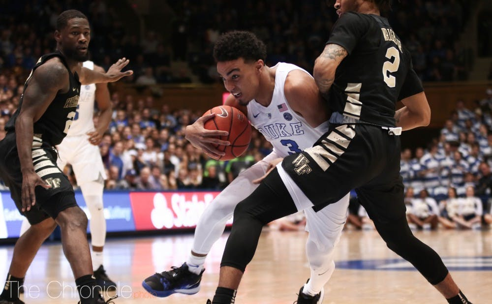 <p>Tre Jones gave Cameron a scare when he went down late in the second half.</p>