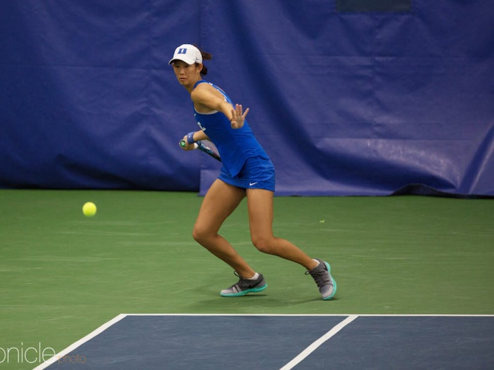 Meible Chi clinched Sunday's match against Washington with a dramatic three-set singles victory.