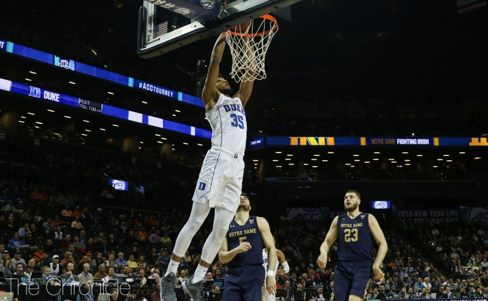2e28be558ab Marvin Bagley III dominates the paint to lead Duke men s basketball to ACC  quarterfinal win