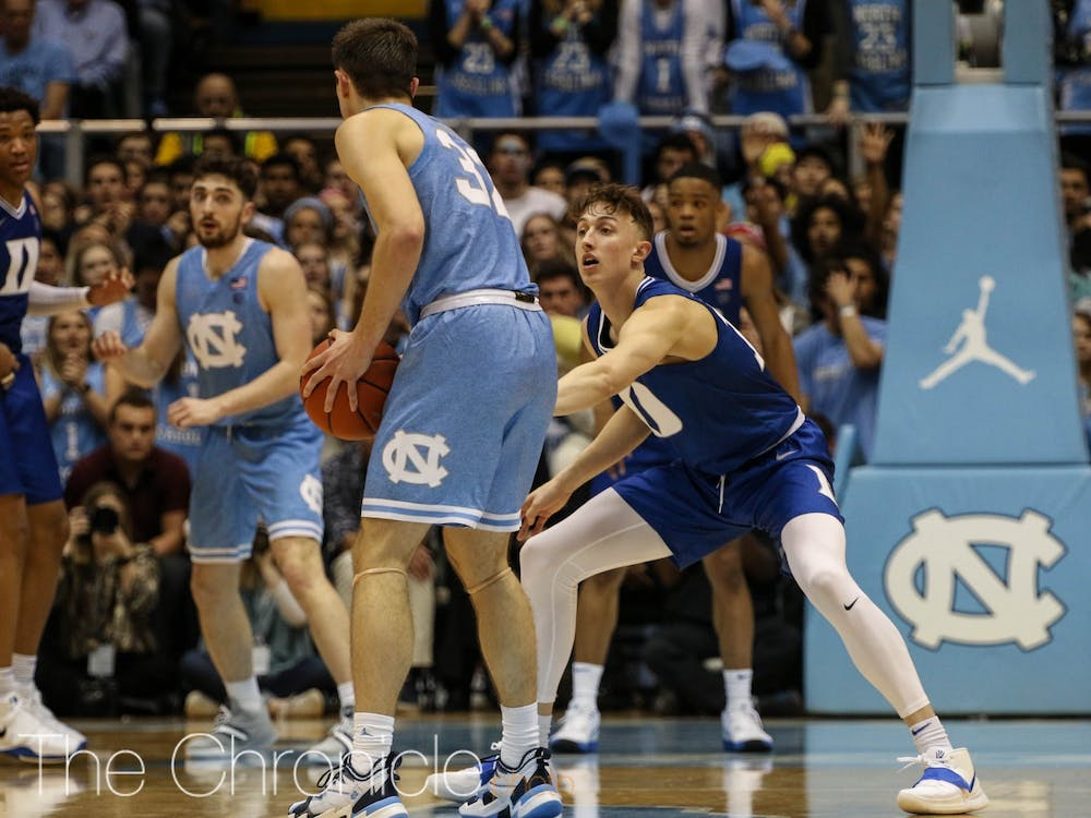 Alex O'Connell didn't play in the first half, but hit two huge threes the rest of the way to keep Duke in the game.