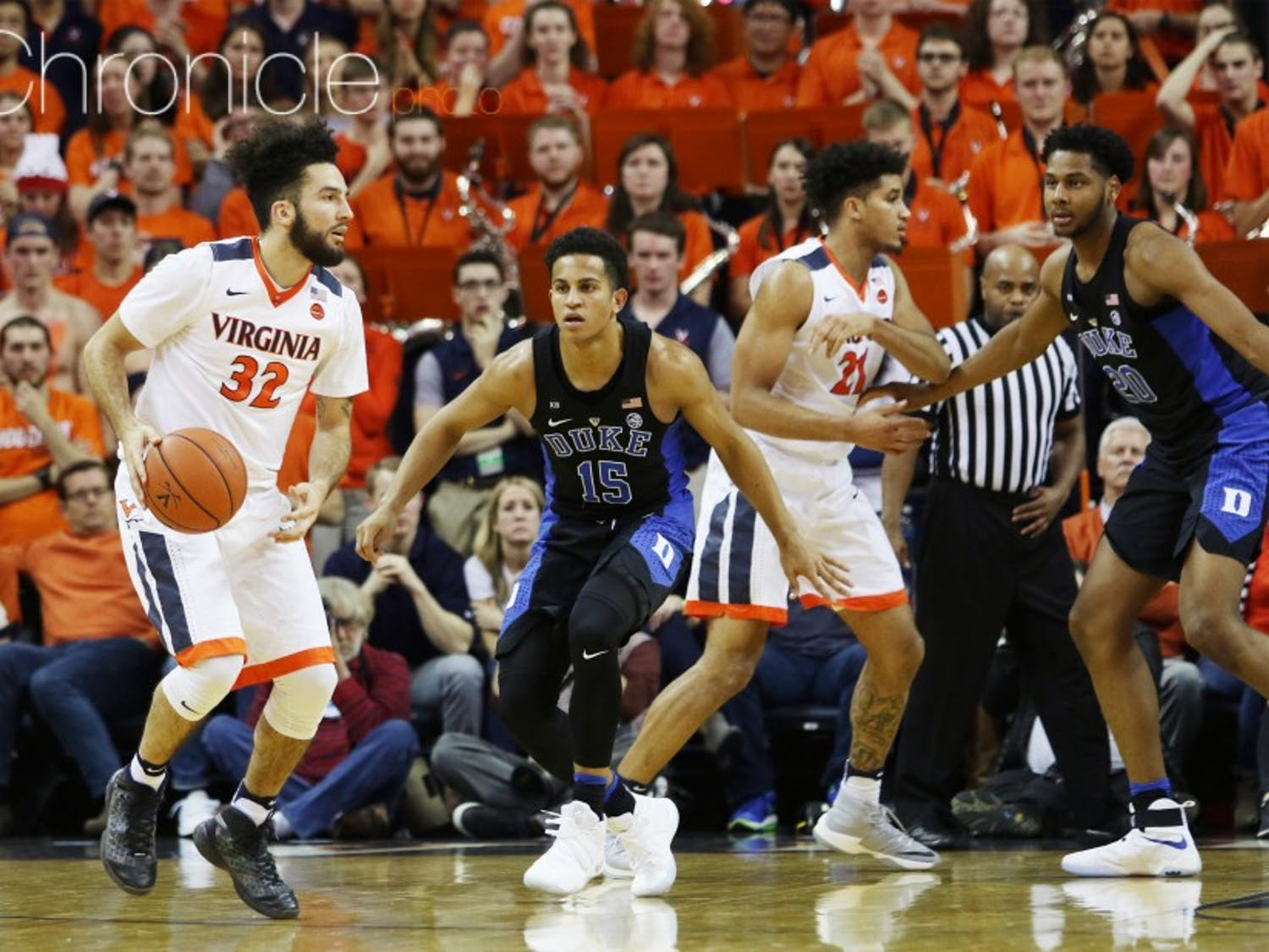 London Perrantes has gotten more support offensively with Ty Jerome and Kyle Guy in the starting lineup late in the season.