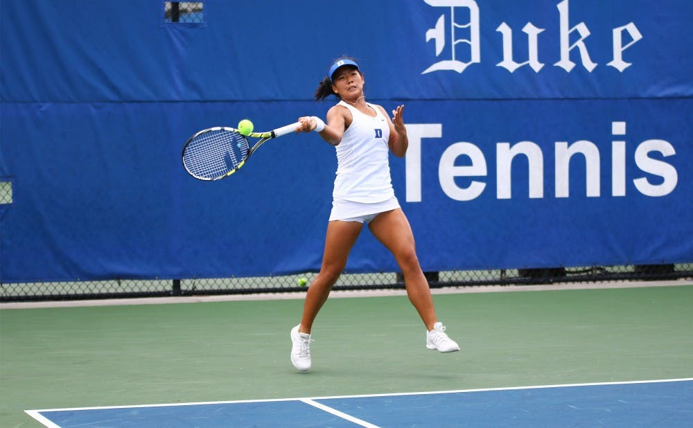 <p>Freshman Jessica Ho was the only Duke player to win a singles match Saturday and also helped the Blue Devils capture the doubles point.&nbsp;</p>