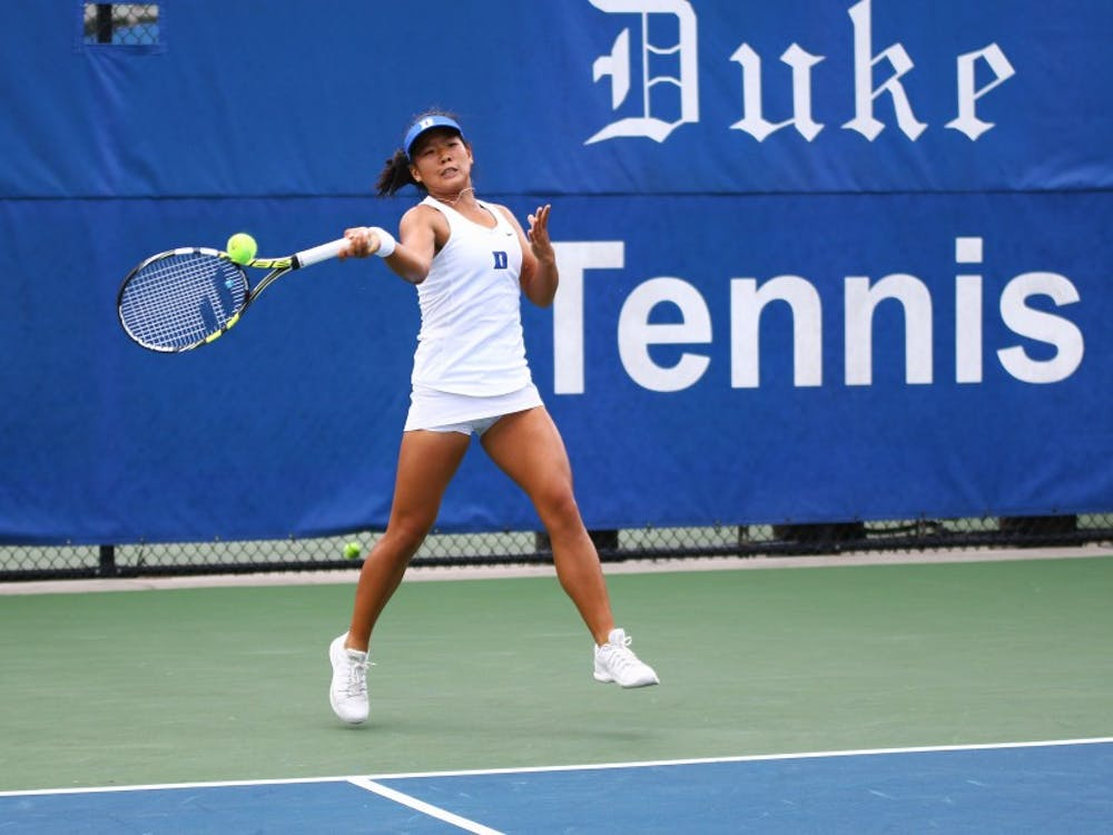 Freshman Jessica Ho was the only Duke player to win a singles match Saturday and also helped the Blue Devils capture the doubles point.