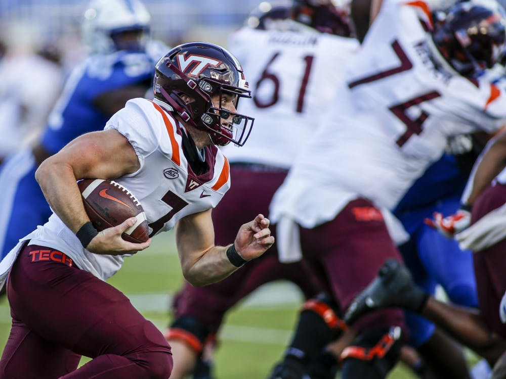 Virginia Tech quarterback Braxton Burmeister's dual-threat attack posed trouble for Duke all afternoon.