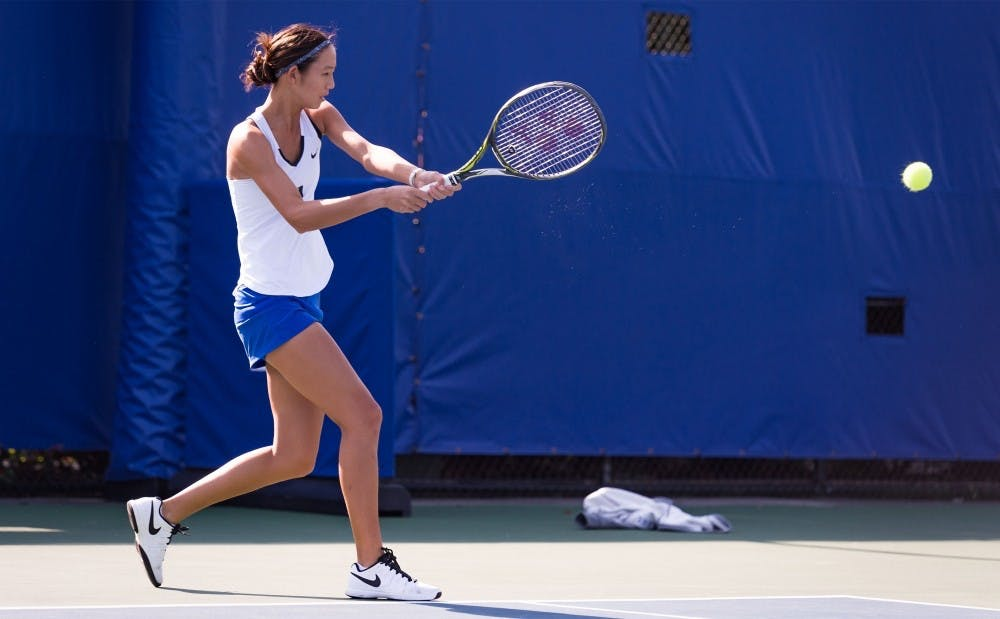 <p>Freshman Meible Chi won her singles match convincingly Wednesday to continue a standout freshman campaign.&nbsp;</p>
