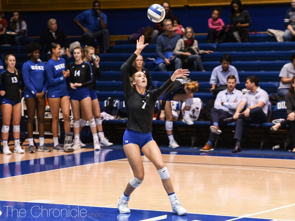 Gracie Johnson and the Blue Devils rallied after losing the first two sets.