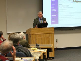 Eric Mlyn, director of DukeEngage, spoke about the program's successes and future plans at the Academic Council meeting Thursday.