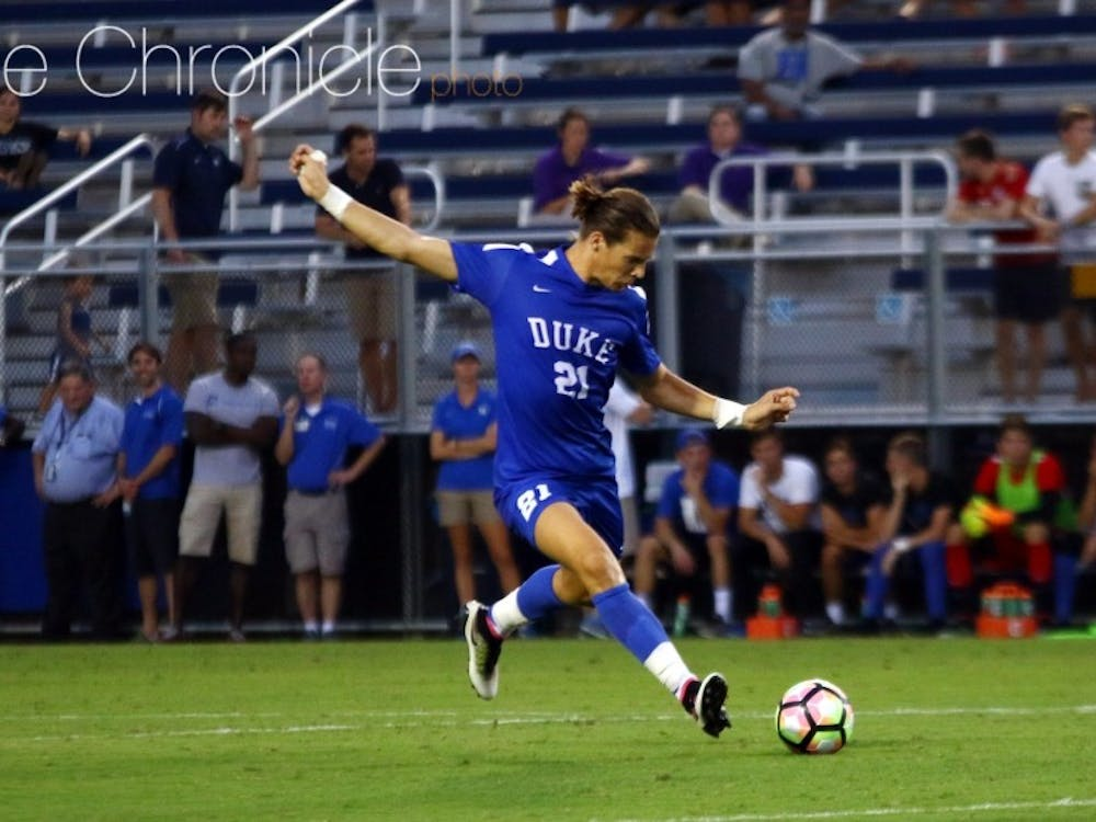 Marcus Fjortoft's header with just 2:42 to play in regulation sent the Blue Devils to overtime against High Point.