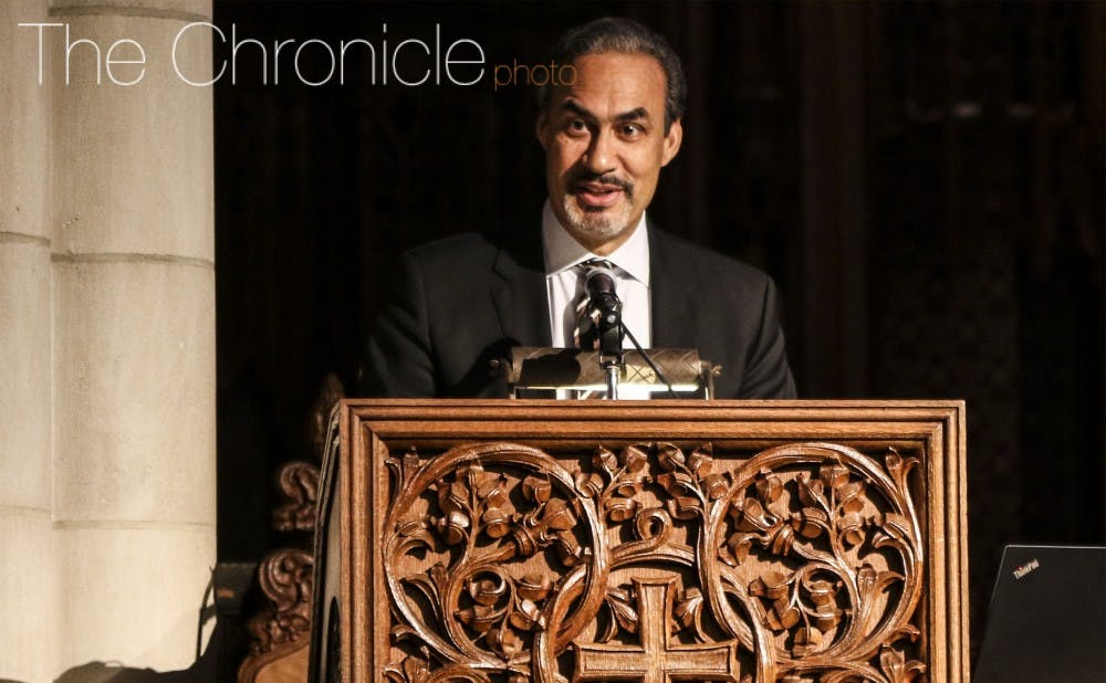 <p>Phil Freelon, architect of the Smithsonian National Museum of African American History and Culture, gave the keynote address at the University's Martin Luther King Jr. Day ceremony in 2017.&nbsp;</p>
