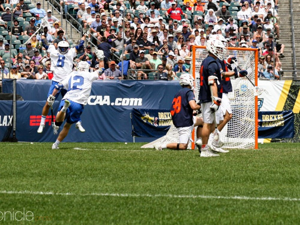 Kevin Quigley's goal with 10:56 left in the fourth quarter put Duke up 10-7.