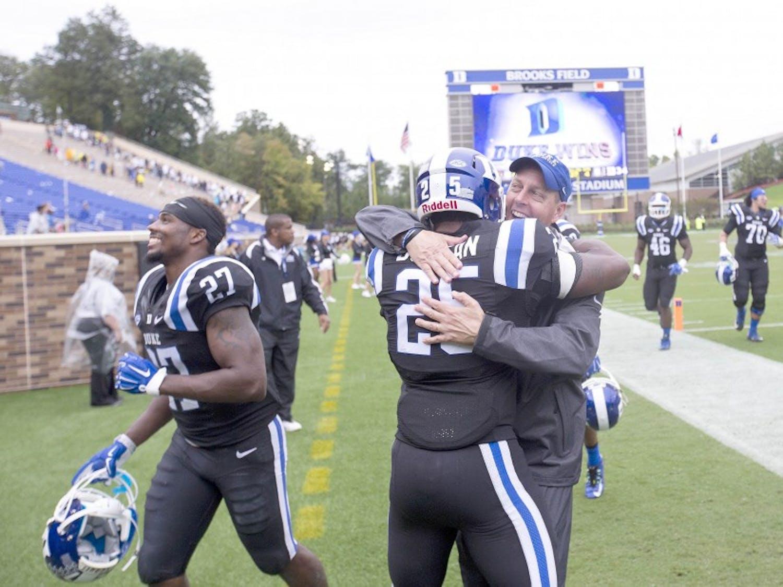 Georgia Tech v Duke.  Brooks Field at Wallace Wade Stadium.  Duke won 34-20.  Durham, NC.  September 26, 2015.(Jon Gardiner/Duke Photography)