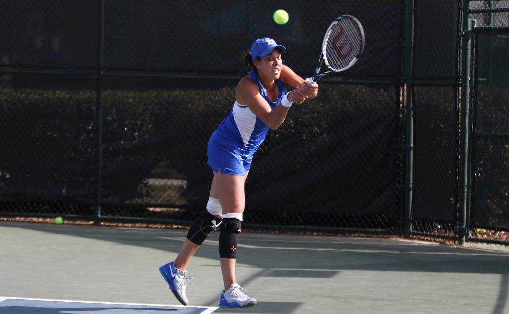 Junior Beatrice Capra earned the match-clinching singles victory for the Blue Devils Saturday.