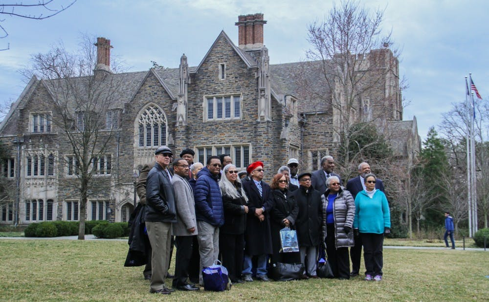 <p>Allen Building Takeover participants gathered in front of the Allen Building for a photograph.&nbsp;</p>