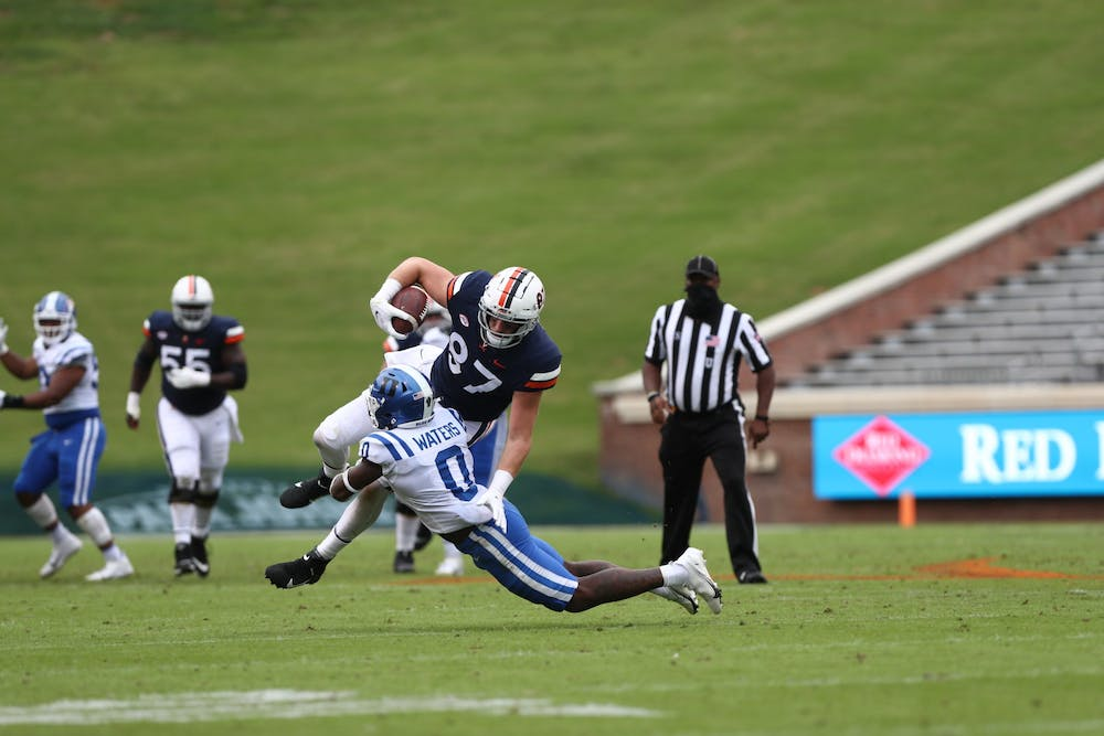 <p>Despite Virginia quarterback Brennan Armstrong making his first start, Duke struggled to prevent the Cavaliers from making plays downfield.</p>