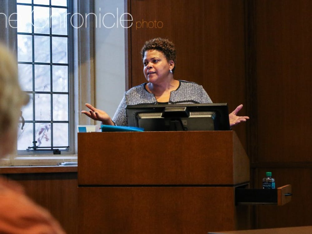 Brenda Allen, a former administrator at Brown University, explained how Brown formed a committee to explore its connection to slavery during a talk Tuesday.