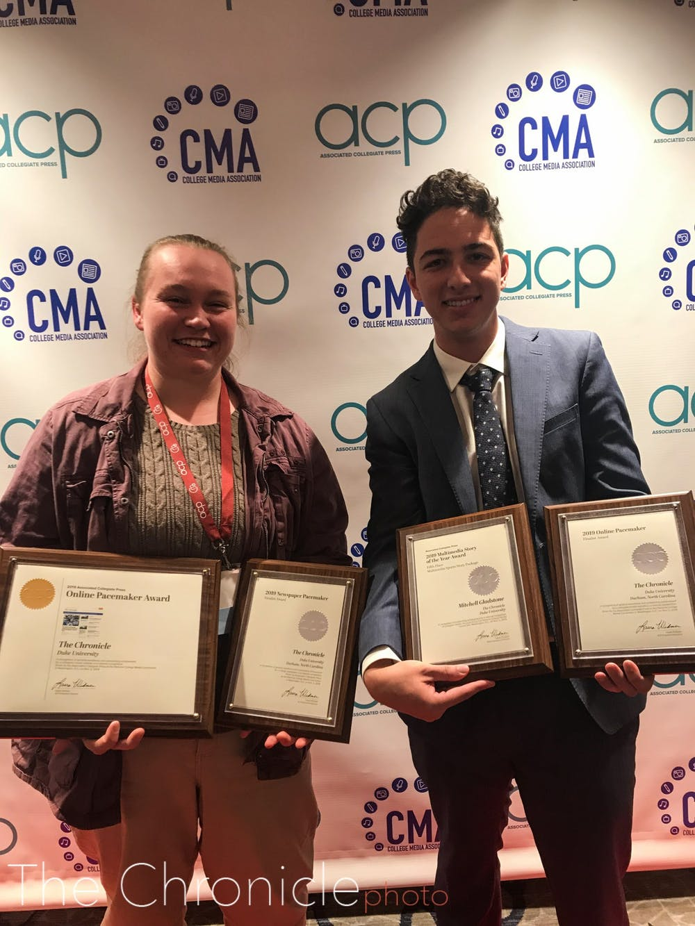<p>Vol. 114 Editor Bre Bradham and Vol. 114 Managing Editor Ben Leonard with the plaques from the ACP conference.</p>