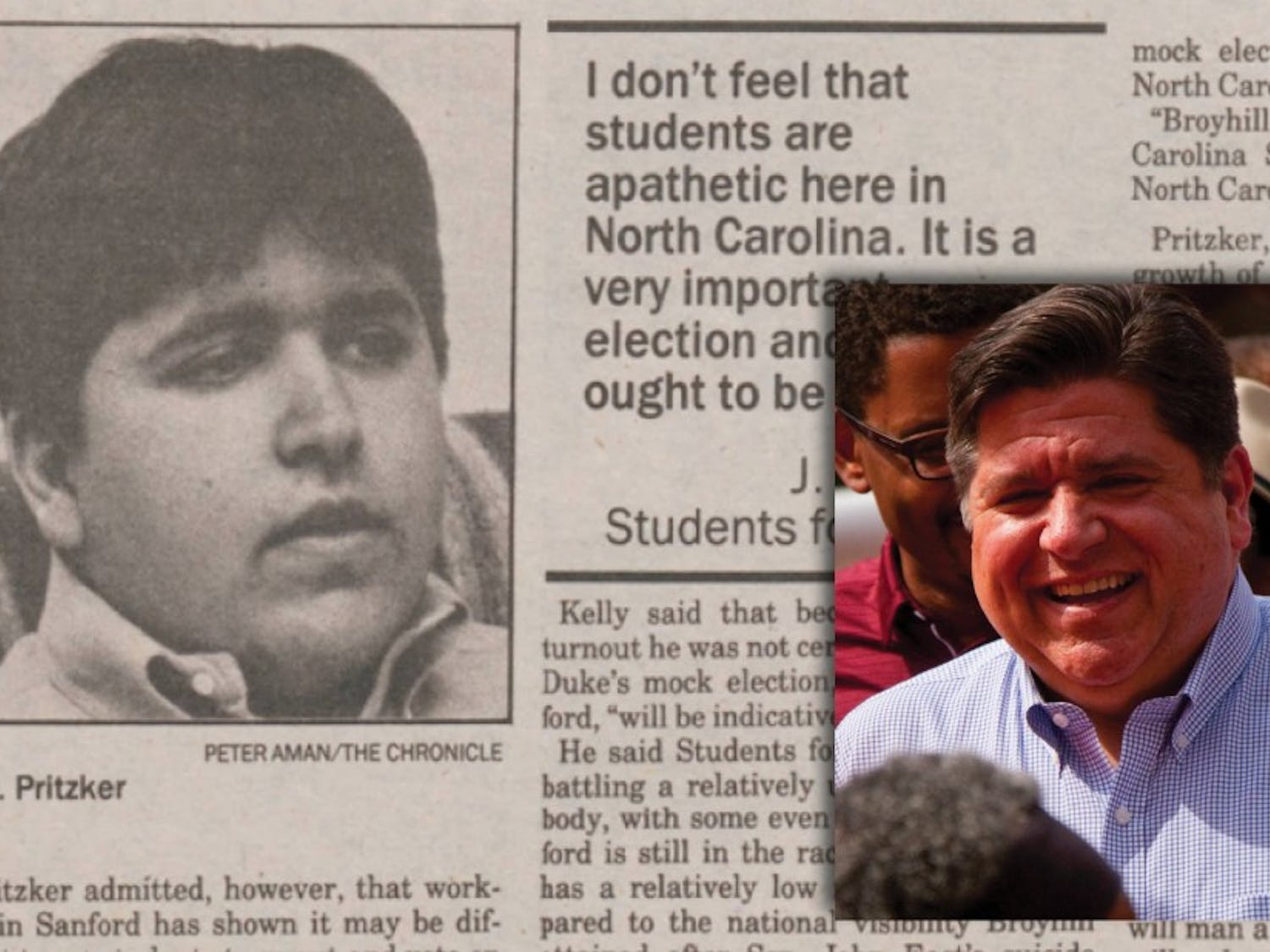 Illinois governor and Duke Trustee J.B. Pritzker. Background: Chronicle File Photo Right: Courtesy of Wikimedia Commons