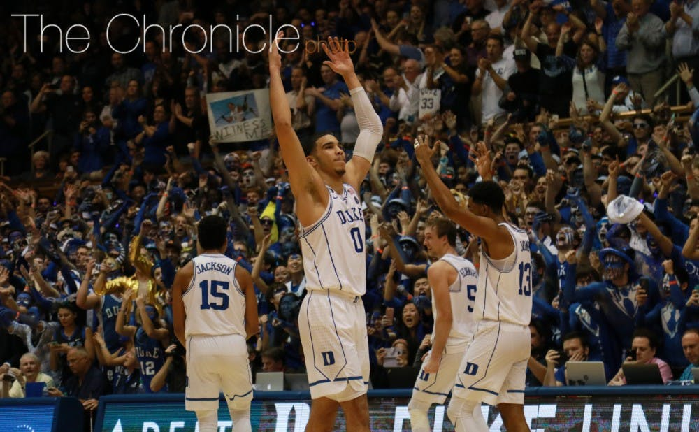 <p>Jayson Tatum scored all of his 19 points after halftime as the Blue Devils won their eighth game against North Carolina in the teams' last 11 matchups.&nbsp;</p>