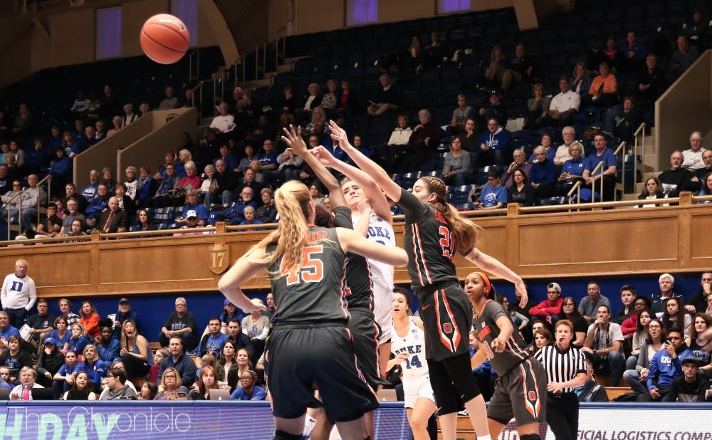 <p>Haley Gorecki led the Blue Devils with 10 rebounds.</p>