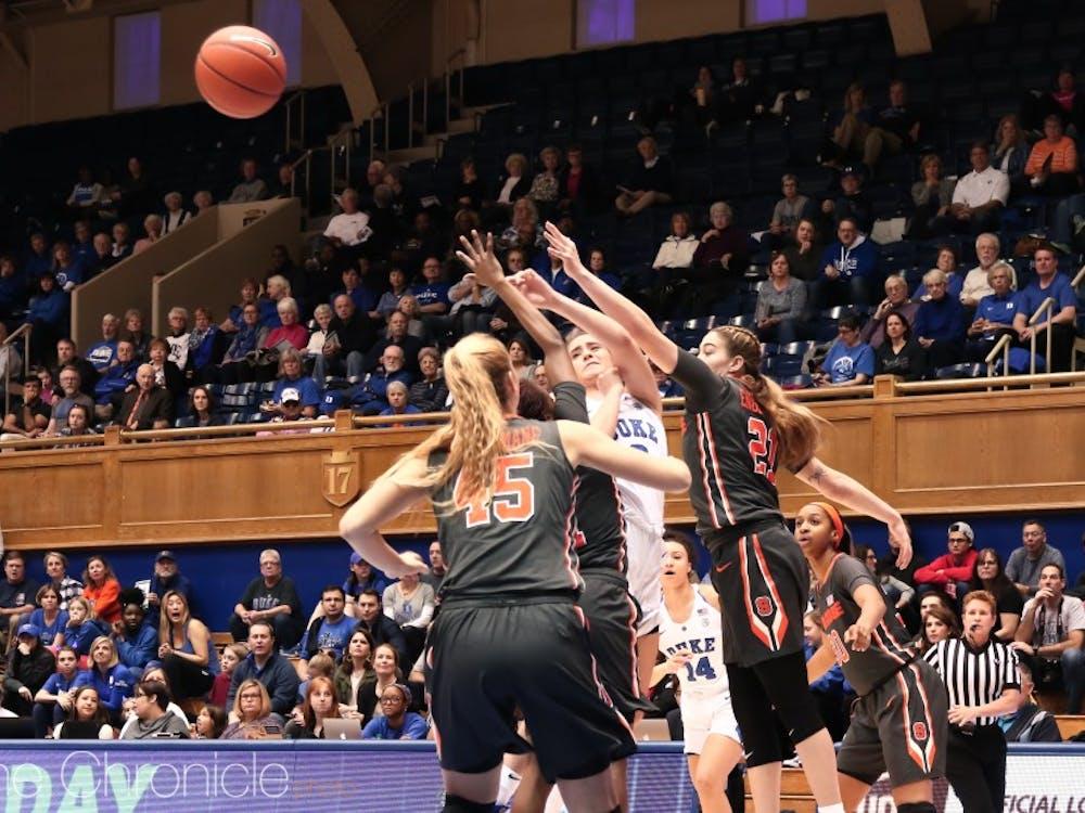 Haley Gorecki led the Blue Devils with 10 rebounds.