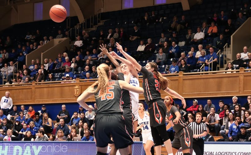 Haley Gorecki led the Blue Devils with 10 rebounds.