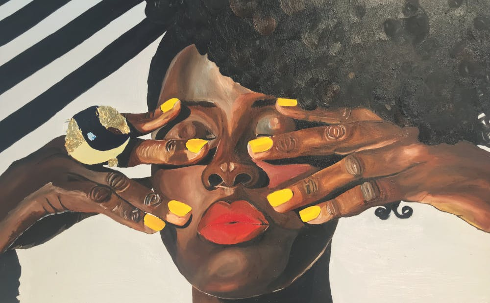 """Erica Danielle's """"Pretty with my yellow nails"""" was featured in The Carrack art gallery's Winter Community Show."""