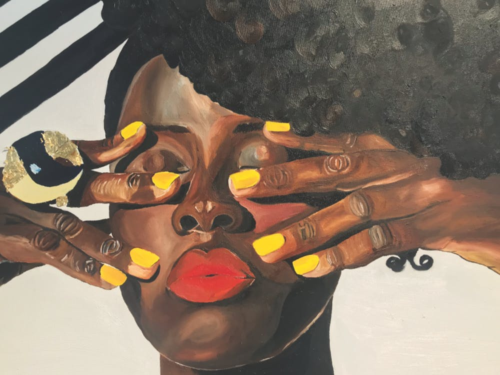 "Erica Danielle's ""Pretty with my yellow nails"" was featured in The Carrack art gallery's Winter Community Show."