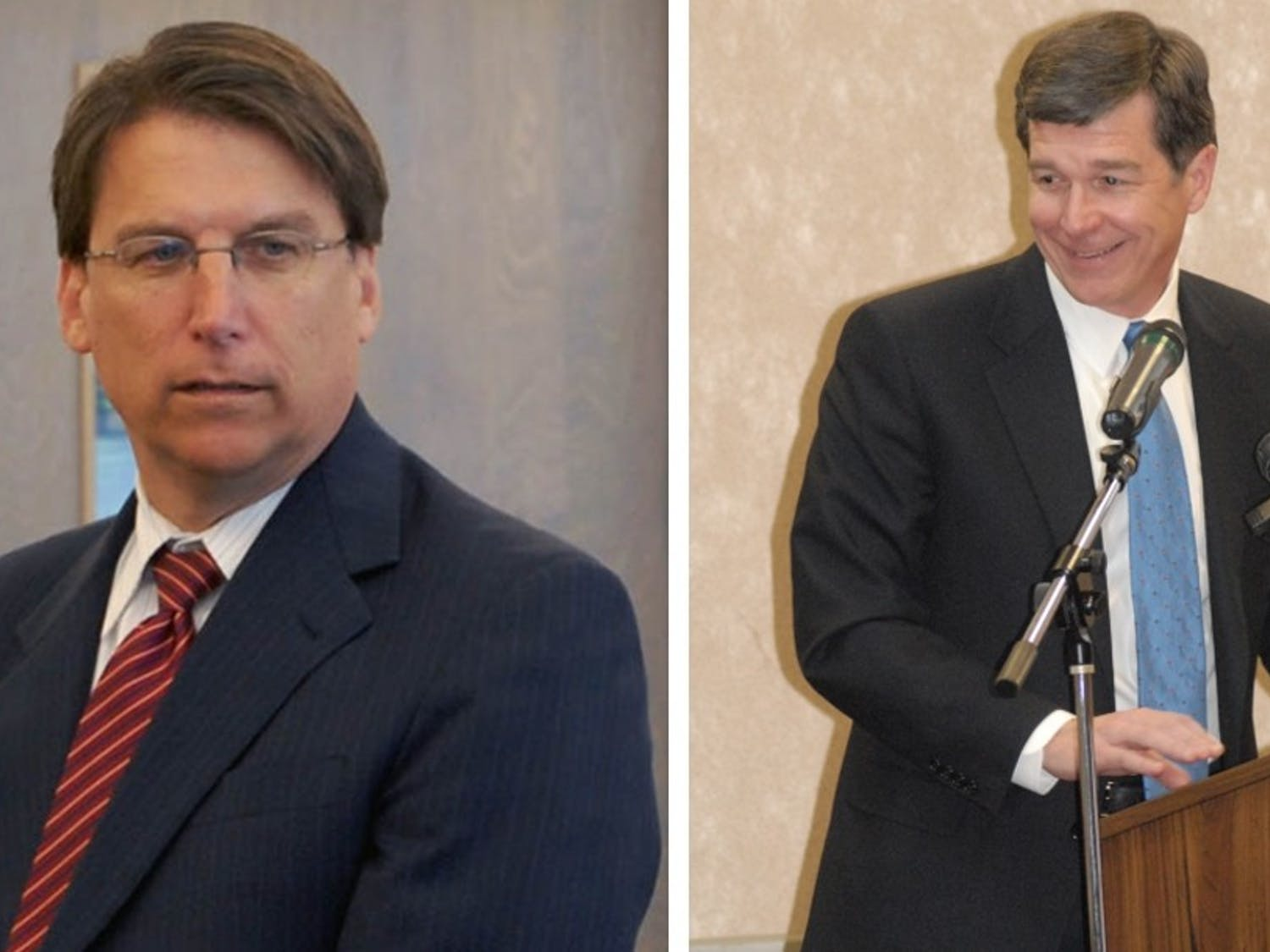 Governor Pat McCrory (left) formally conceded the gubernatorialrace to Democrat Roy Cooper (right).