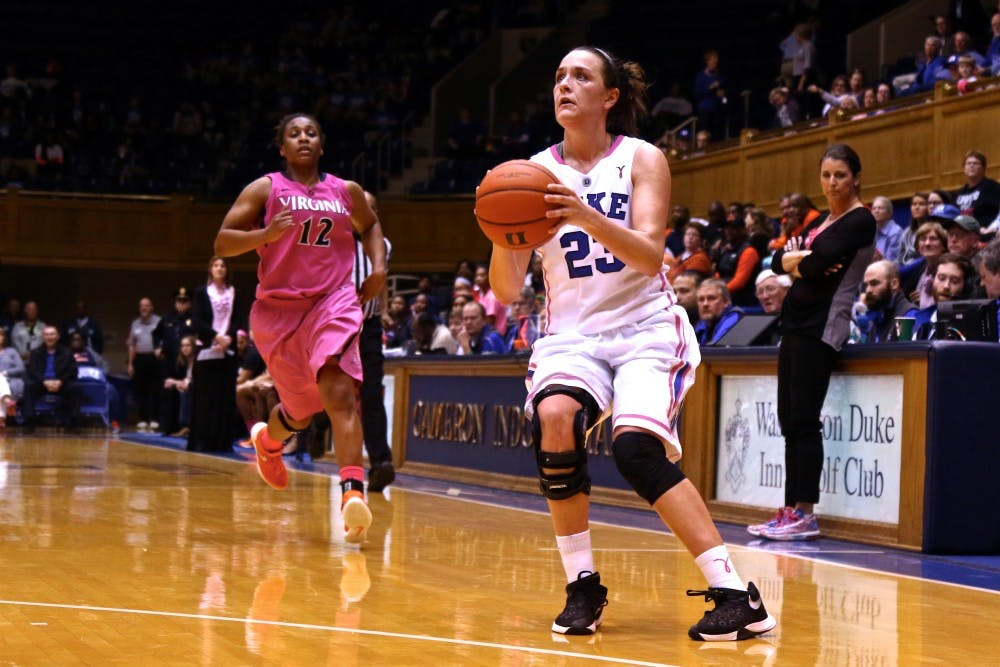 <p>Rebecca Greenwell poured in 25 points and grabbed 12 rebounds, leading Duke to a home victory against Virginia Thursday night.</p>