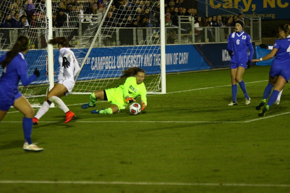 <p>Sophomore goalkeeper E.J. Proctor registered her 11th solo shutout of the season, collecting four saves as Duke blanked Florida State by putting a large number of players behind the ball.</p>