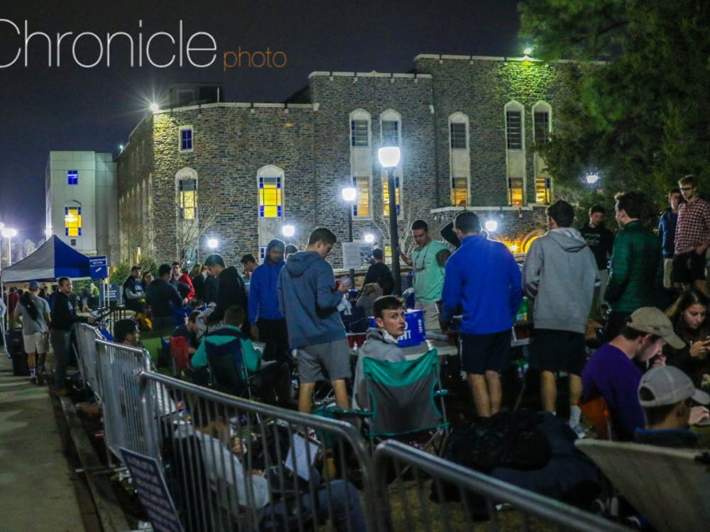 Hundreds of students lined up outside Krzyzewskiville early this week to try to get in to Thursday's contest.