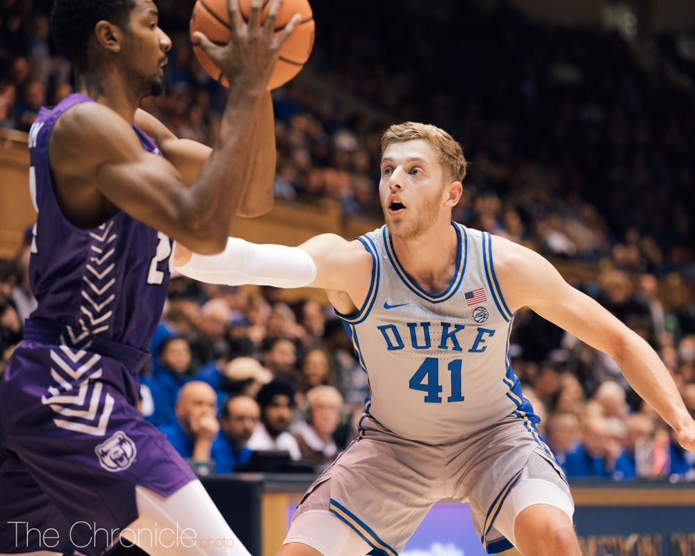 <p>The Blue Devils forced 21 turnovers against the Bears Tuesday night.</p>