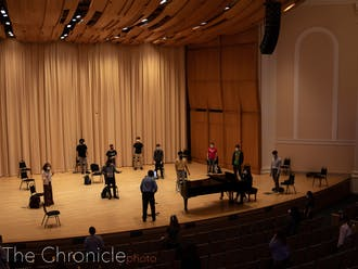 A Duke University Chorale practice.