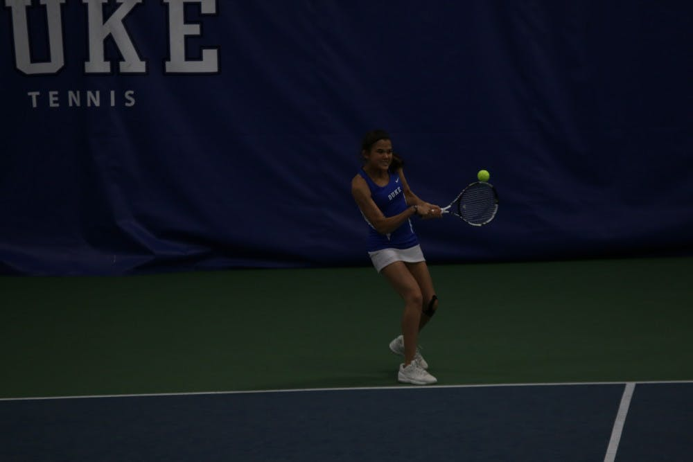 <p>Redshirt freshman Christina Makarova&nbsp;eked out a three-set victory on court six to even the match at 2-2, but the Blue Devils could not capitalize on the mid-match momentum and fell 4-3 to No. 16 Georgia Tech Friday.</p>
