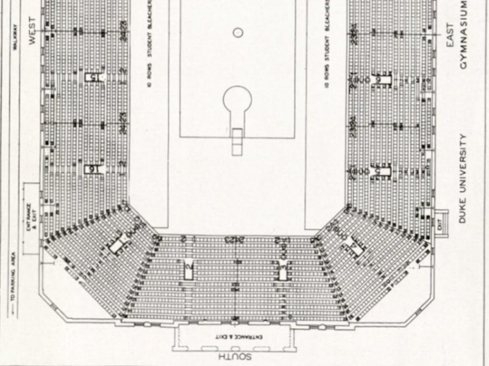 The original layout and seating chart for what would later become known as Cameron Indoor Stadium