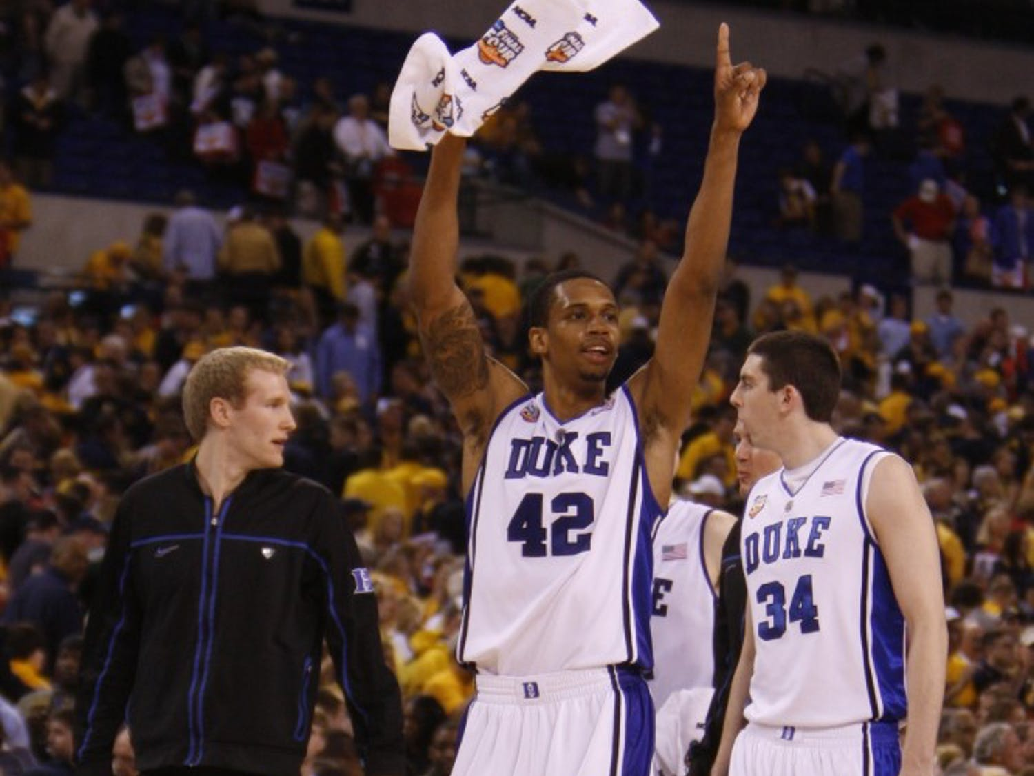 Photos from the Duke Men's Basketball Team's 78-57 win over West Virginia in the semifinals of the NCAA tournament.