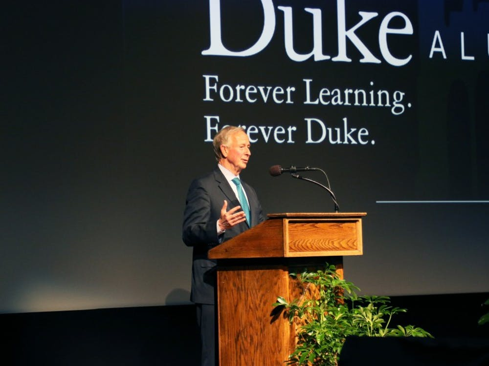 President Richard Brodhead introduced Denis McDonough, chief of staff to President Barack Obama, at Friday's talk.